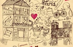 Set of Hand Drawn Romance in Paris Elements Vector 02