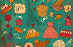 Set of Hand Drawn Romance in Paris Elements Vector 03
