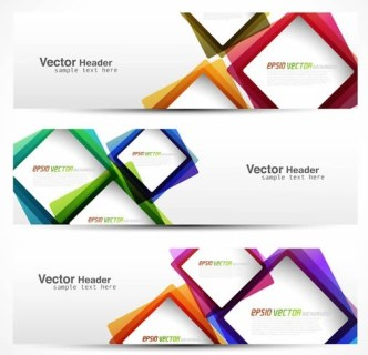 Set Of Clean Vector Banners with Colored Blocks