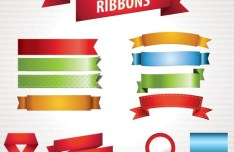 Set of Colored Vector Ribbons 02