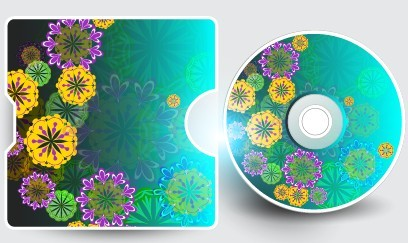 Vector Disc Cover with Floral Background 01