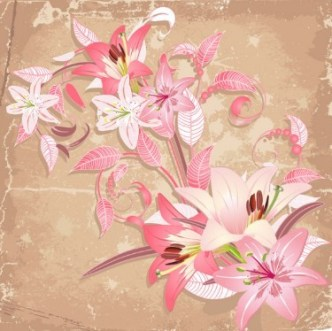 Retro Flowers Vector Illustration 02