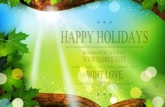 Spring Green Leaves Vector Background 06