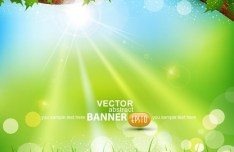 Spring Green Leaves Vector Background 07