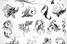 Set Of Black Patterns Design Vector Illustration 01