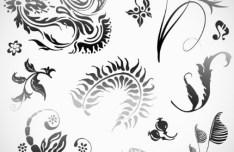 Set Of Black Patterns Design Vector Illustration 03
