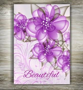 Beautiful Floral Wedding Invitation Card Design Vector 03