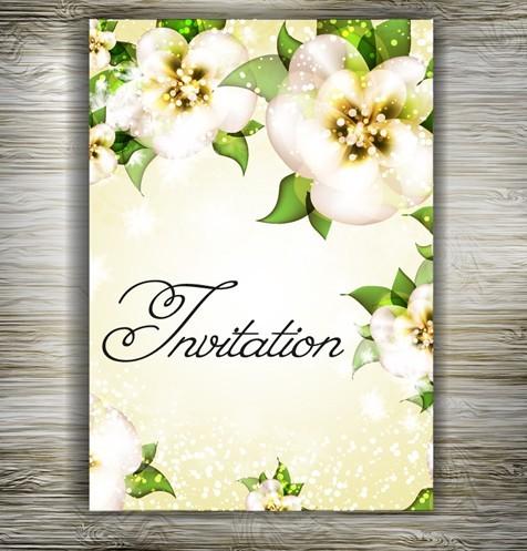 Free Beautiful Floral Wedding Invitation Card Design Vector 04