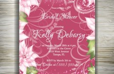Beautiful Floral Wedding Invitation Card Design Vector 05