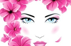Fashion Floral Hairstyle Vector Girl 05