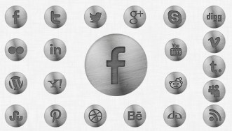 Vintage Metal Social Icons PSD