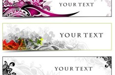 Set of Coloreed Hand Drawn Floral Banners Vector