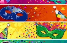 Set of Colorful Halloween Banners Vector