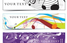 Set of Musical Notes Banners Vector