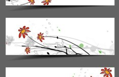 Set of Simple Hand Drawn Floral Banners Vector