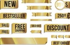 Sleek Golden Vector Sales Labels