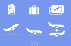 White Airport Icons PSD