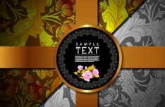 Retro Vintage Floral Packaging Cover Vector 04