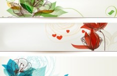 Set of Simple Hand Drawn Floral Banners Vector 02