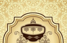 Vector Vintage Invitation Cards with Golden Lace Backgrounds 03