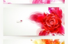 Elegant & Clean Vector Banner with Colored Flowers 06