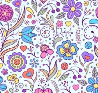 Elegant Hand Drawn Flowers Pattern Vector 02
