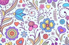 Elegant Hand Drawn Flowers Pattern Vector 02