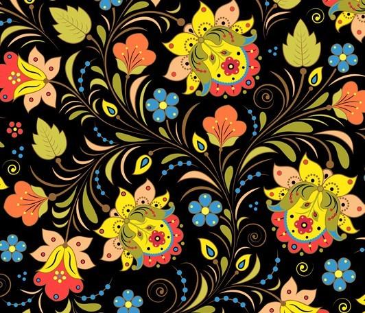 Elegant Hand Drawn Flowers Pattern Vector 03
