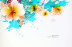 Elegant Splash Flowers Background Vector 02