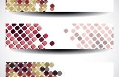 Set of Colorful Polka Dots Vector Banners 02