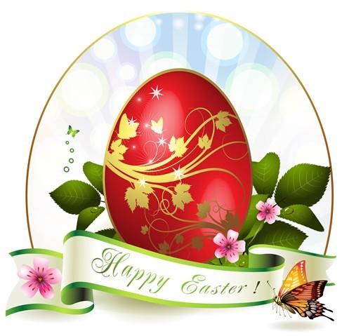 Elegant Happy Easter Eggs Desgin Vector 02