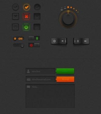 Grey Orange Web UI Kit PSD