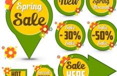 Set of Green Spring Sale Labels 01