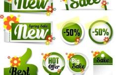 Set of Green Spring Sale Labels 02