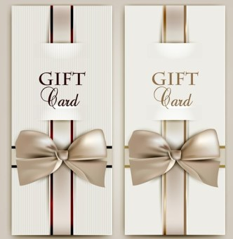 Vector Elegant Gift Card with Bow Design Template 03