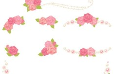 Cute Pink Flower Borders Vector 02