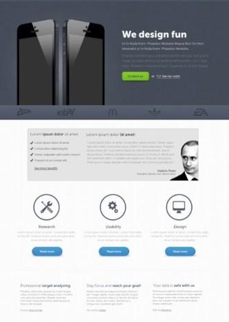 Elegant Dark Blue Fantastico Landing Page Template