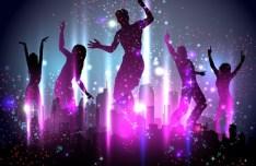 Vector Dancing People Shining Background 03