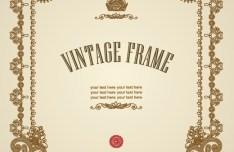 Vintage Golden Vector Floral Frame