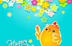 Cartoon Happy Easter Vector Design with Flowers and Grass 03