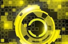 Yellow HI-TECH Vector Grids Background