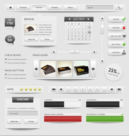 Elegant Grey Web Elements Kit PSD