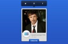 Social Media Widget with Toolbar PSD Interface Design