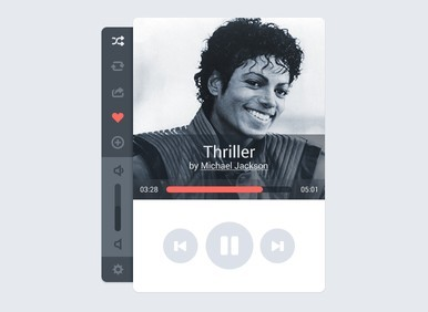 Clean Music Player Interface PSD Design
