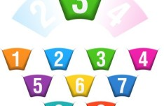 Creative Colored Numbers Label Sticker Vector 02