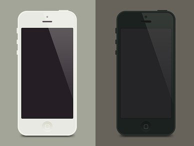 Flat iPhone 5 PSD Template (White and Black)