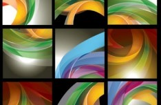 Set Of Colored Vector Abstract Curves Background