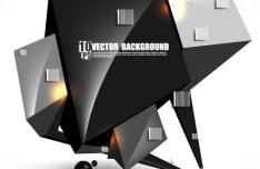 HI-TECH Irregular Cube Background Vector 02