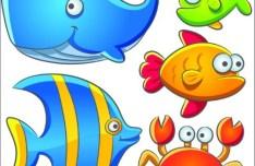 Cute Cartoon Marine Life Animals Vector Illustration 02