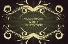 Golden Vintage Floral Framework Vector 02